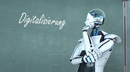 Humanoid Robot Blackboard Digitalisierung German text Digitalisierung, translate Digitization. 3d illustration.