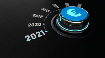 Control Knob Euro 2021 A knob switches to the year 2021 and brings financial changes. 3d illustration.