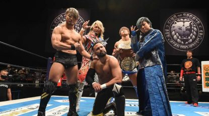 L-R SHO, Hiroshi Tanahashi, Rocky Romero, Kota Ibushi and Master Wato, New Japan Pro-Wrestling Ten-man tag match at TDC Hall on January 6, 2021 in Tokyo, Japan. Noxthirdxpartyxsales PUBLICATIONxNOTxINxJPN 151572463